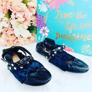 🌸 Zara Studded Ankle Wrap Flats 40